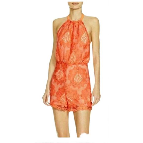 cd7c2a49b54 NWT Aqua Orange-Red Lace Romper Shorts Suit Medium